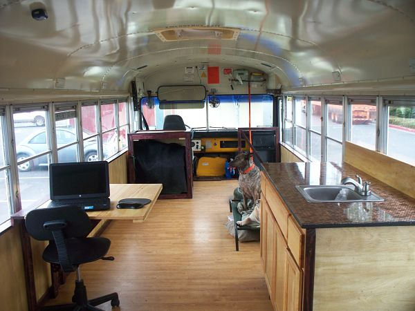 School bus to tiny house conversion