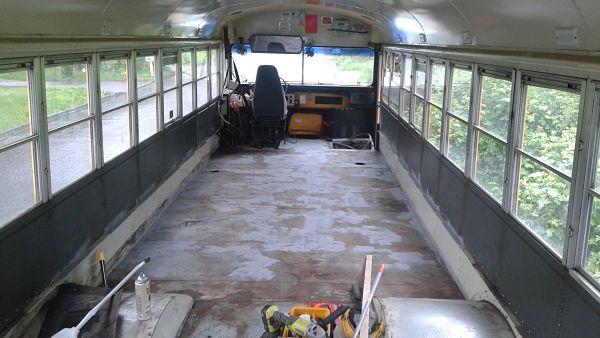 School bus floor sprayed with Ruststop primer