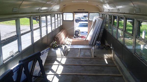School bus conversion sub-flooring