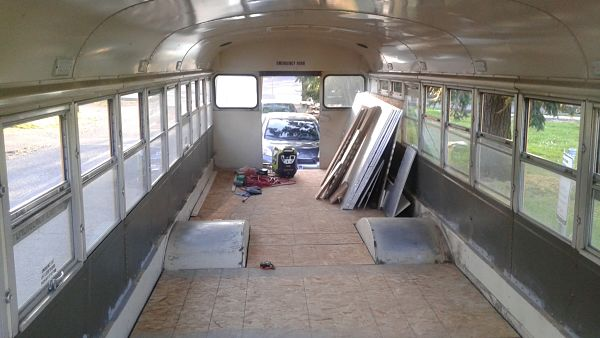 School bus to tiny house sub floor installed